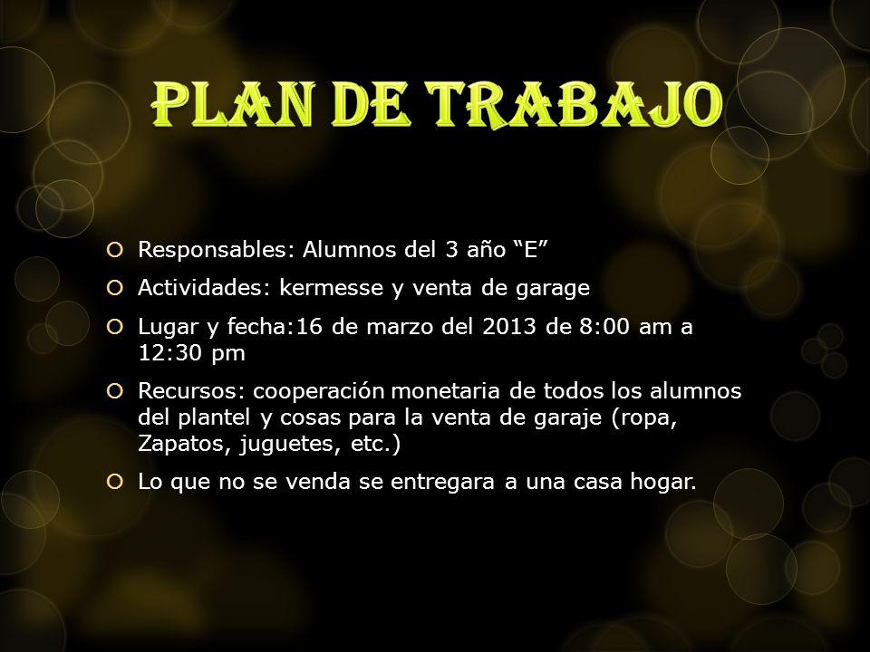 Plan de trabajo Responsables: Alumnos del 3 año E