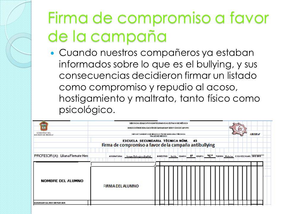 Firma de compromiso a favor de la campaña