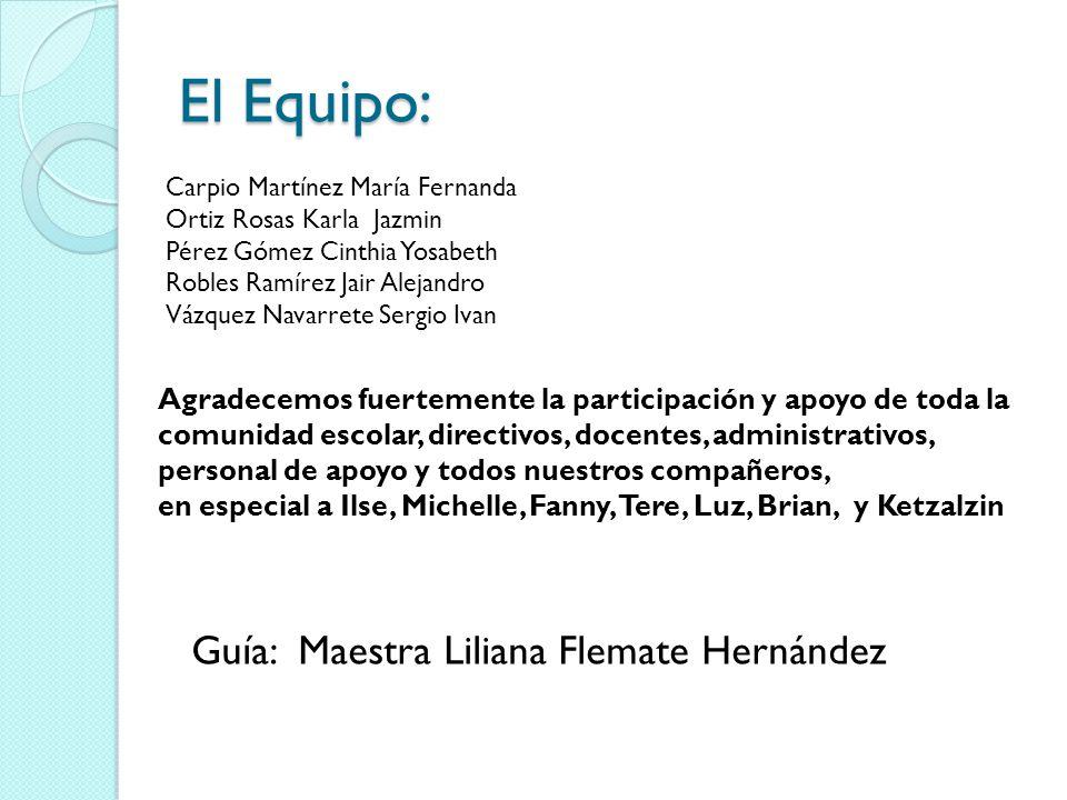 El Equipo: Guía: Maestra Liliana Flemate Hernández
