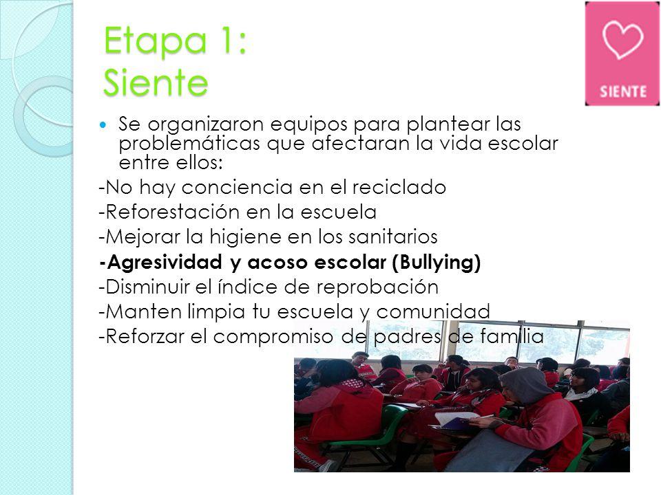 Etapa 1: Siente Se organizaron equipos para plantear las problemáticas que afectaran la vida escolar entre ellos:
