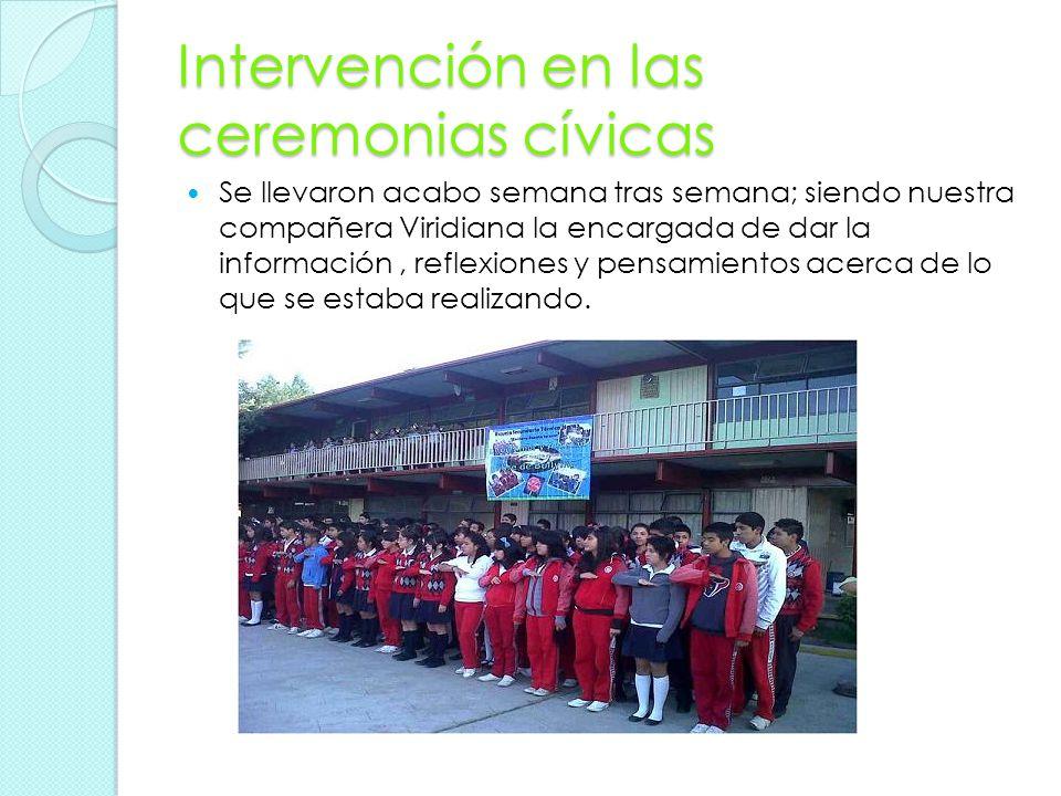 Intervención en las ceremonias cívicas