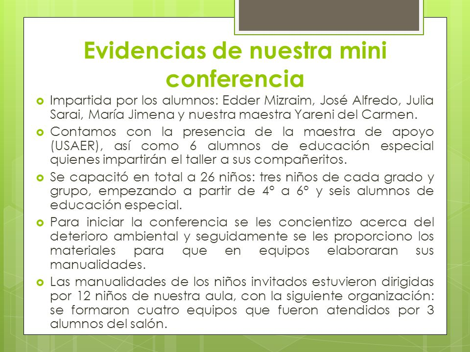 Evidencias de nuestra mini conferencia