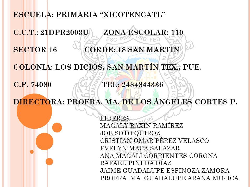ESCUELA: PRIMARIA XICOTENCATL C. C. T