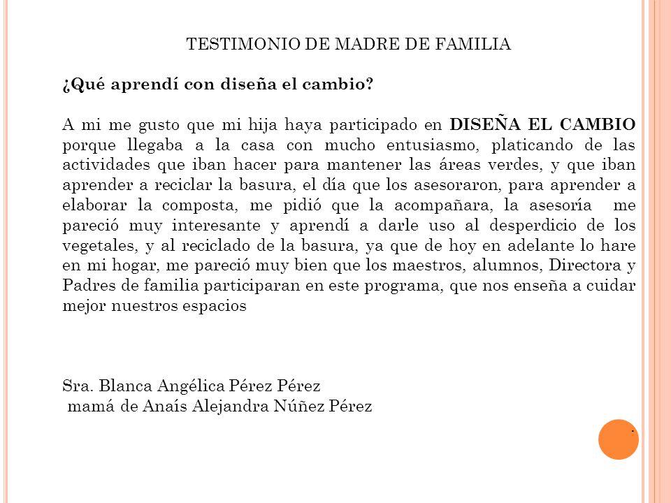 TESTIMONIO DE MADRE DE FAMILIA