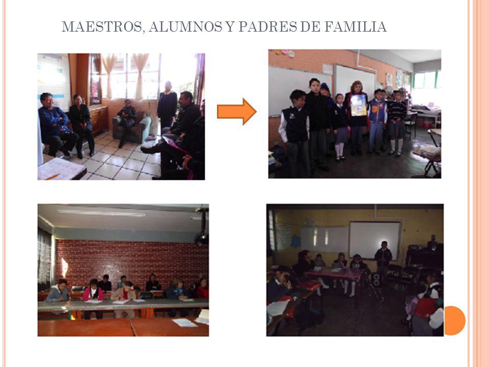 MAESTROS, ALUMNOS Y PADRES DE FAMILIA