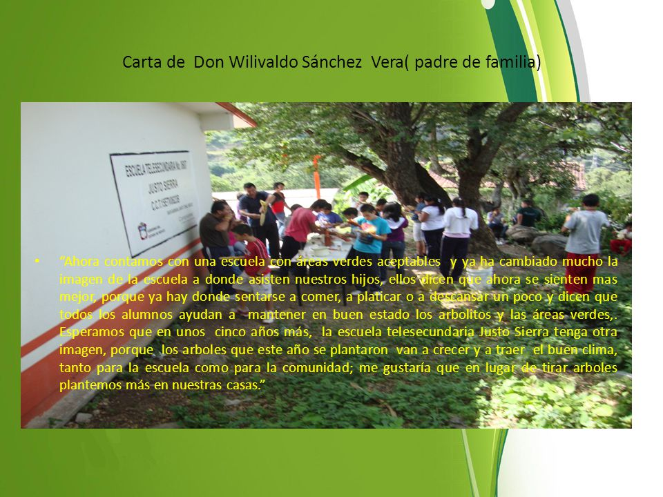 Carta de Don Wilivaldo Sánchez Vera( padre de familia)