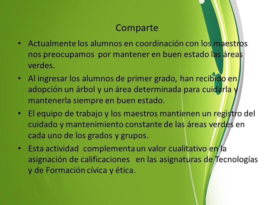 Comparte Actualmente los alumnos en coordinación con los maestros nos preocupamos por mantener en buen estado las áreas verdes.