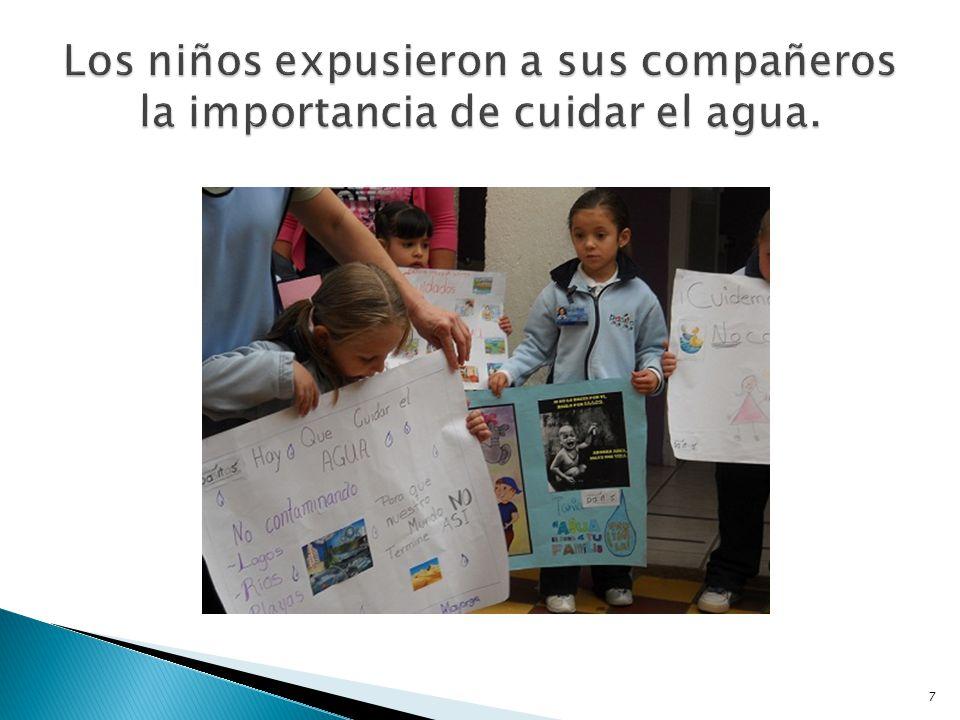 Los niños expusieron a sus compañeros la importancia de cuidar el agua.