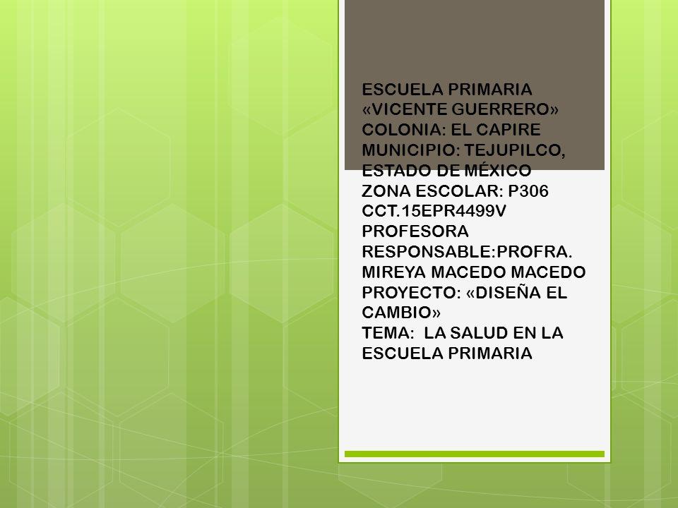 ESCUELA PRIMARIA «VICENTE GUERRERO» COLONIA: EL CAPIRE MUNICIPIO: TEJUPILCO, ESTADO DE MÉXICO ZONA ESCOLAR: P306 CCT.15EPR4499V PROFESORA RESPONSABLE:PROFRA.