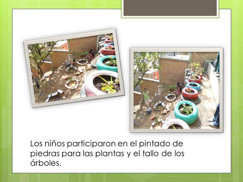 Los niños participaron en el pintado de piedras para las plantas y el tallo de los árboles.