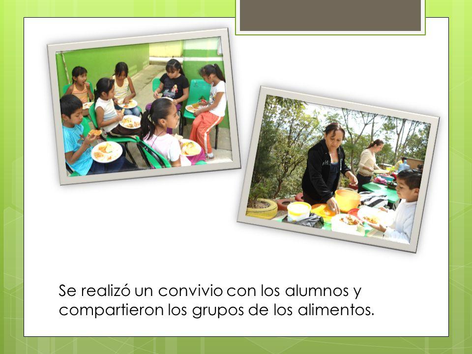 Se realizó un convivio con los alumnos y compartieron los grupos de los alimentos.