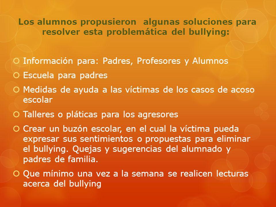 Los alumnos propusieron algunas soluciones para resolver esta problemática del bullying: