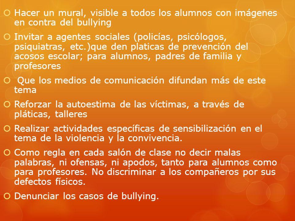 Hacer un mural, visible a todos los alumnos con imágenes en contra del bullying