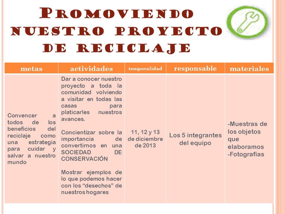 Promoviendo nuestro proyecto de reciclaje