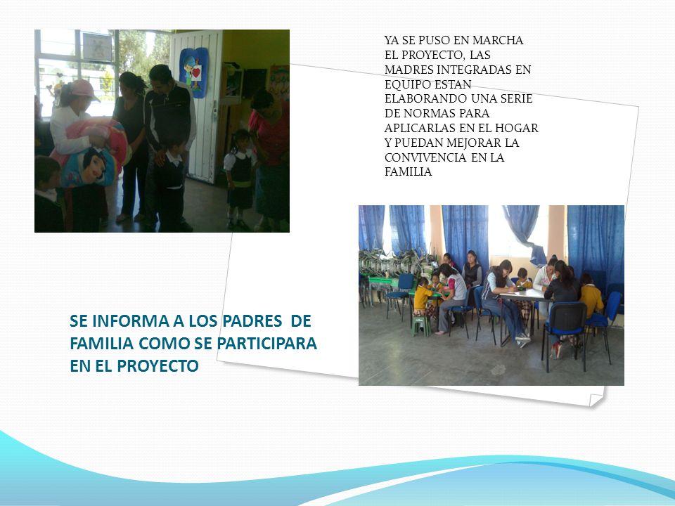 SE INFORMA A LOS PADRES DE FAMILIA COMO SE PARTICIPARA EN EL PROYECTO