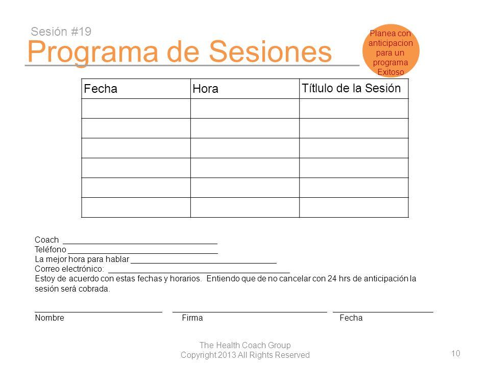 Programa de Sesiones Sesión #19 Fecha Hora Títlulo de la Sesión