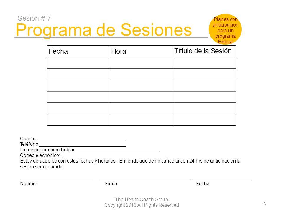 Programa de Sesiones Sesión # 7 Fecha Hora Títlulo de la Sesión