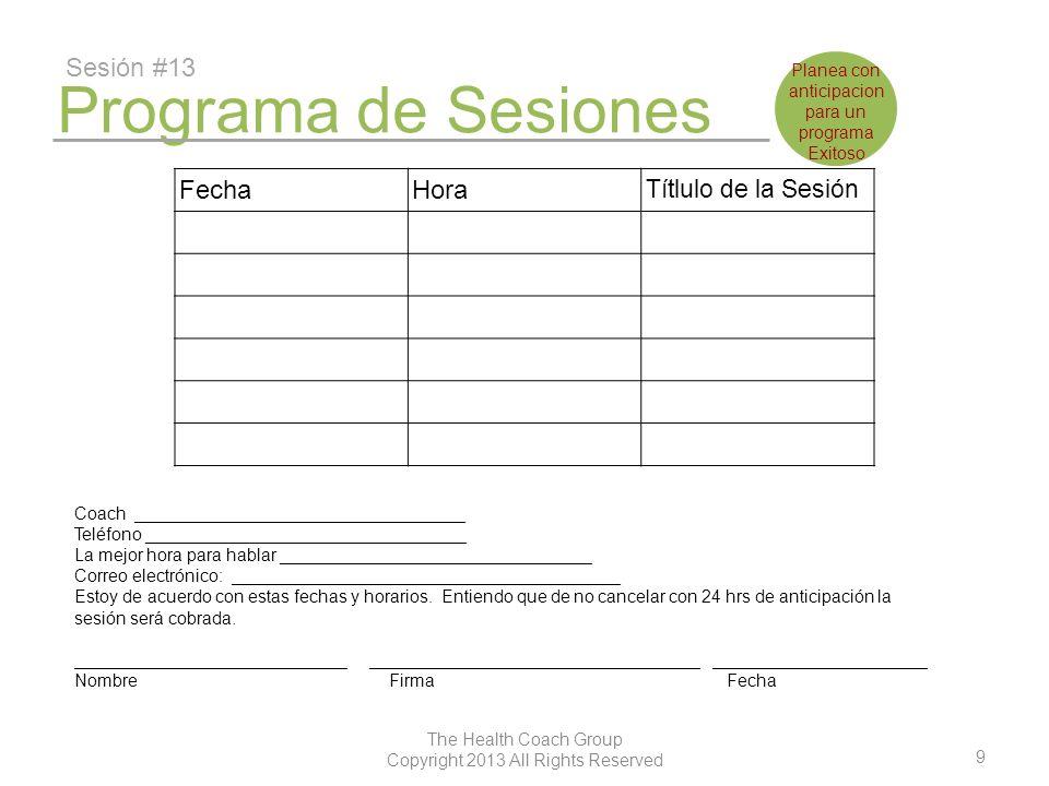 Programa de Sesiones Sesión #13 Fecha Hora Títlulo de la Sesión