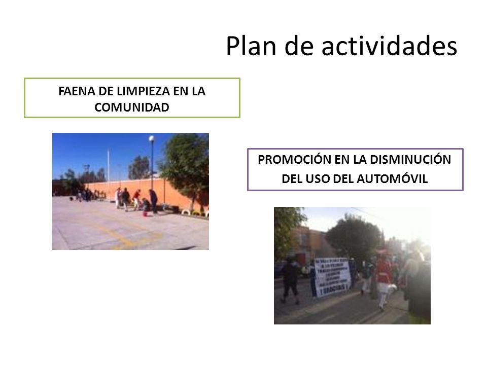 Plan de actividades FAENA DE LIMPIEZA EN LA COMUNIDAD