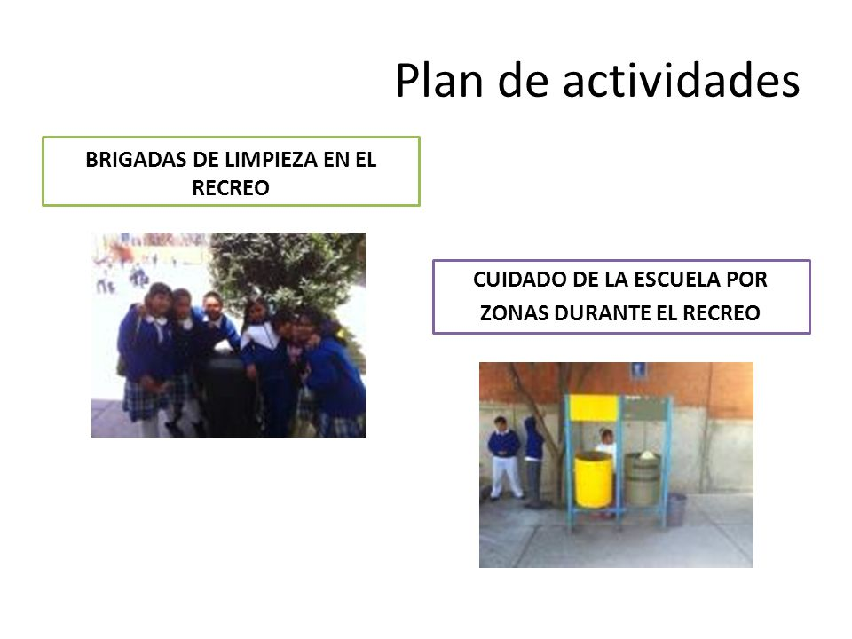 Plan de actividades BRIGADAS DE LIMPIEZA EN EL RECREO