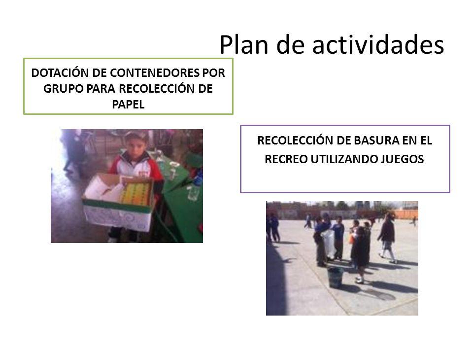 Plan de actividades DOTACIÓN DE CONTENEDORES POR GRUPO PARA RECOLECCIÓN DE PAPEL.