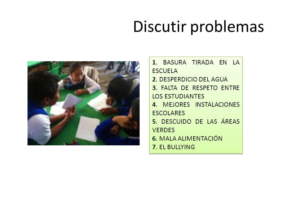 Discutir problemas 1. BASURA TIRADA EN LA ESCUELA