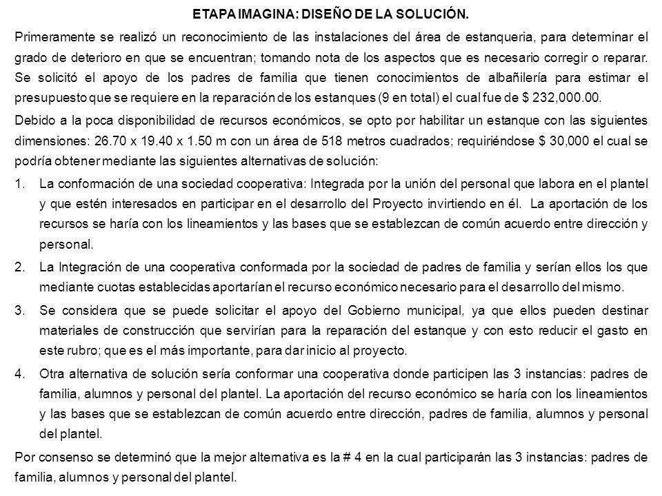 ETAPA IMAGINA: DISEÑO DE LA SOLUCIÓN.