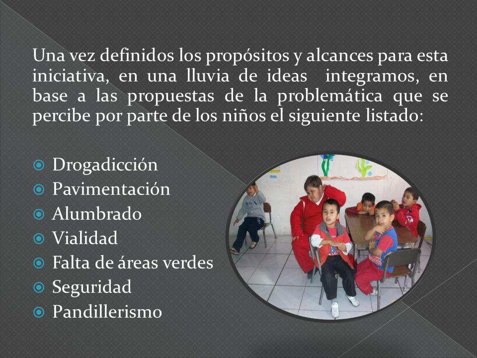 Una vez definidos los propósitos y alcances para esta iniciativa, en una lluvia de ideas integramos, en base a las propuestas de la problemática que se percibe por parte de los niños el siguiente listado: