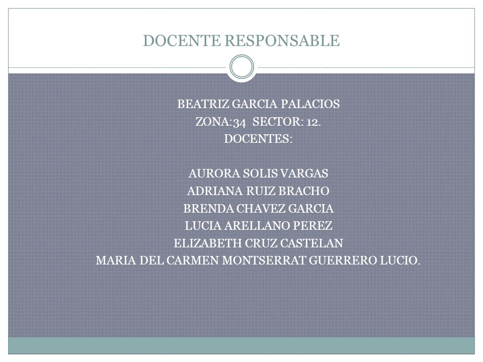 DOCENTE RESPONSABLE