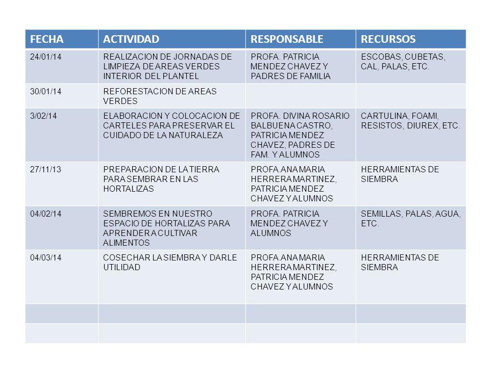 FECHA ACTIVIDAD RESPONSABLE RECURSOS 24/01/14