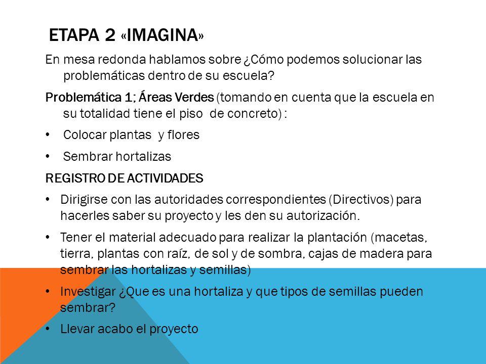 ETAPA 2 «IMAGINA» En mesa redonda hablamos sobre ¿Cómo podemos solucionar las problemáticas dentro de su escuela