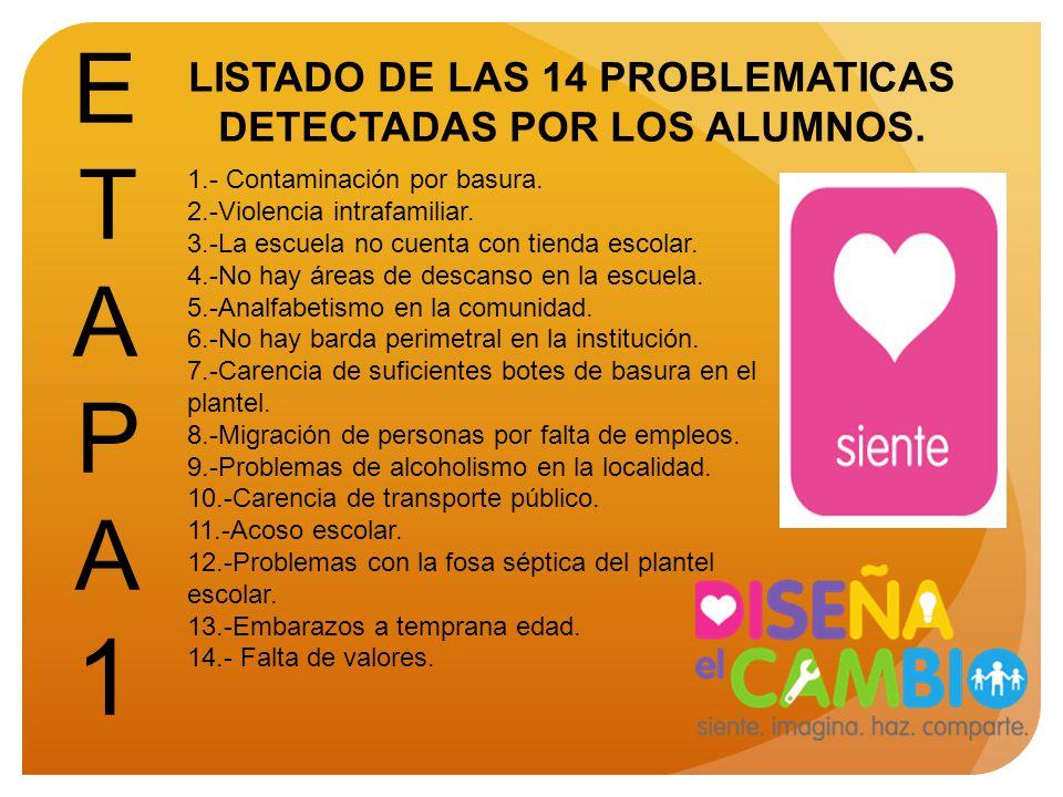 LISTADO DE LAS 14 PROBLEMATICAS DETECTADAS POR LOS ALUMNOS.