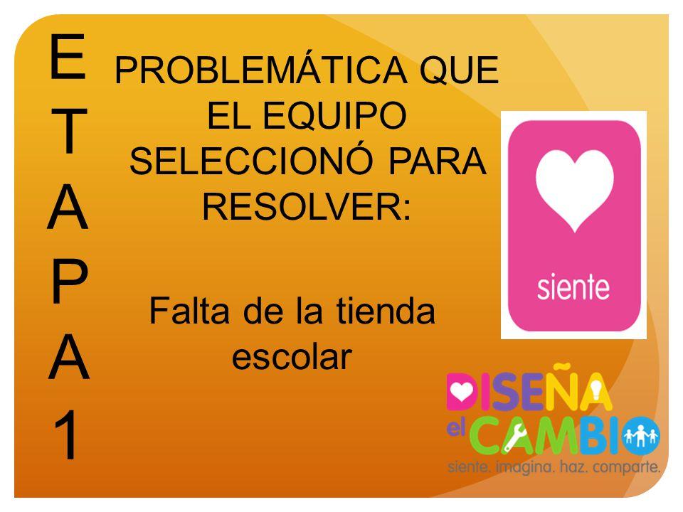 ETAPA 1 PROBLEMÁTICA QUE EL EQUIPO SELECCIONÓ PARA RESOLVER: