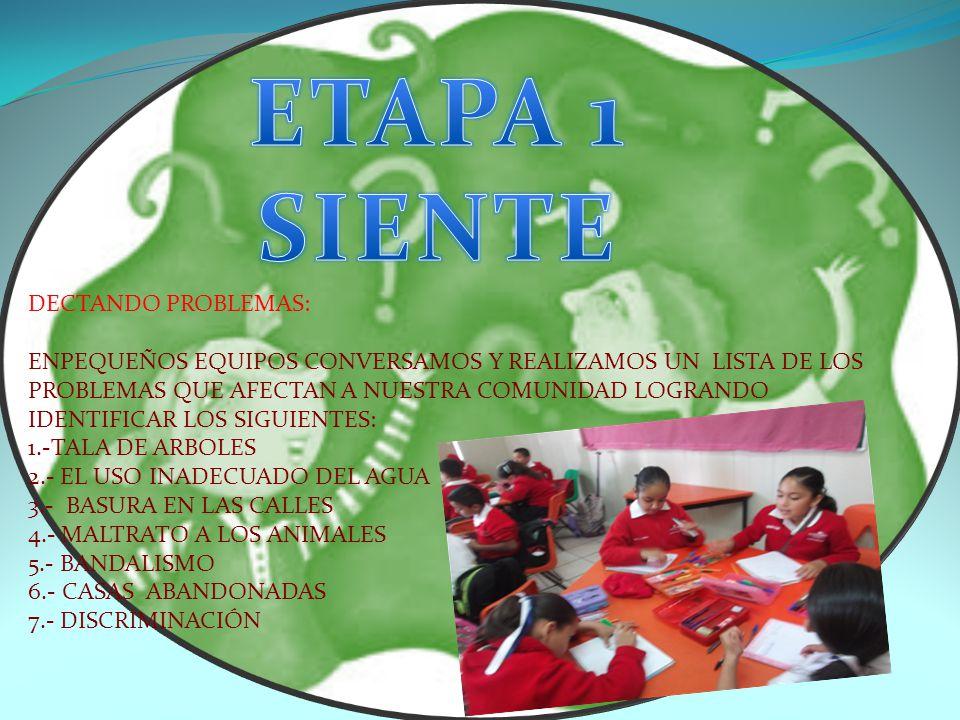 ETAPA 1 SIENTE DECTANDO PROBLEMAS: