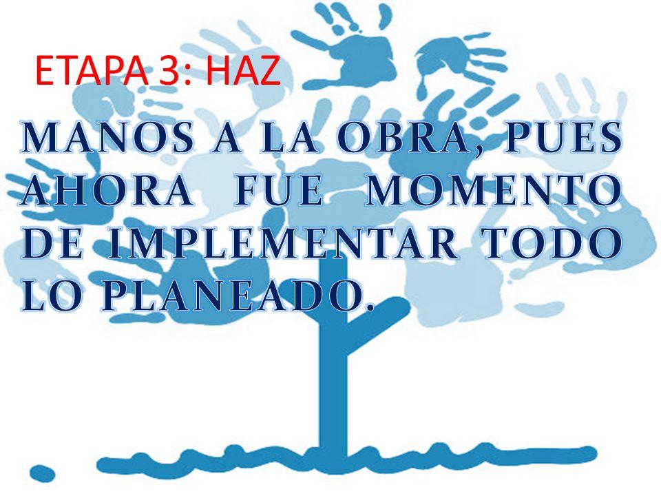 ETAPA 3: HAZ MANOS A LA OBRA, PUES AHORA FUE MOMENTO DE IMPLEMENTAR TODO LO PLANEADO.