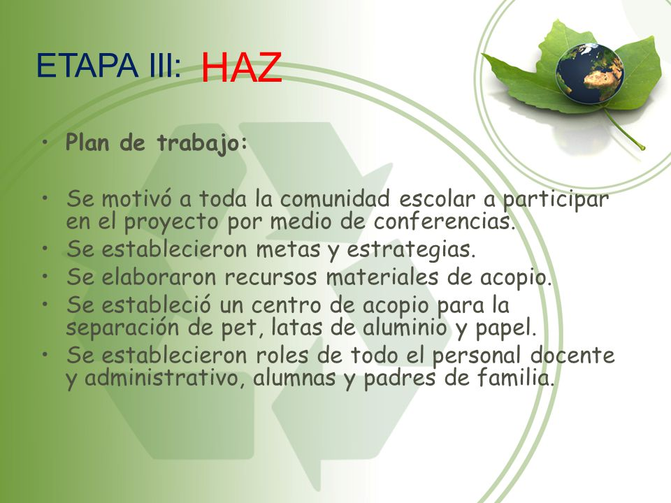 HAZ ETAPA III: Plan de trabajo: