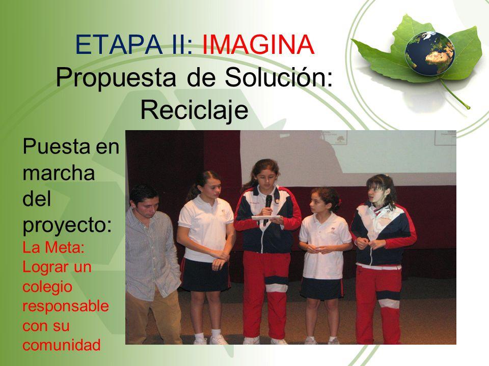 ETAPA II: IMAGINA Propuesta de Solución: Reciclaje