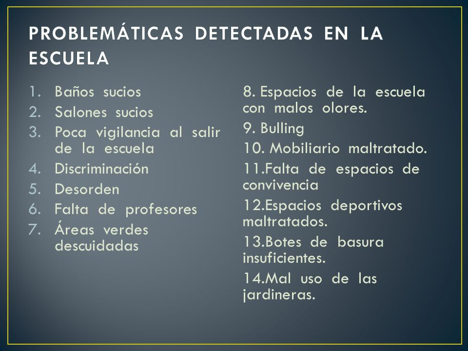 PROBLEMÁTICAS DETECTADAS EN LA ESCUELA