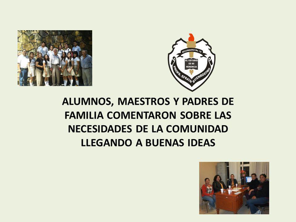 ALUMNOS, MAESTROS Y PADRES DE FAMILIA COMENTARON SOBRE LAS NECESIDADES DE LA COMUNIDAD LLEGANDO A BUENAS IDEAS