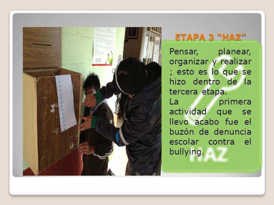 ETAPA 3 HAZ Pensar, planear, organizar y realizar ; esto es lo que se hizo dentro de la tercera etapa.