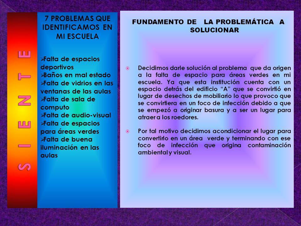 S I E N T E 7 PROBLEMAS QUE IDENTIFICAMOS EN MI ESCUELA