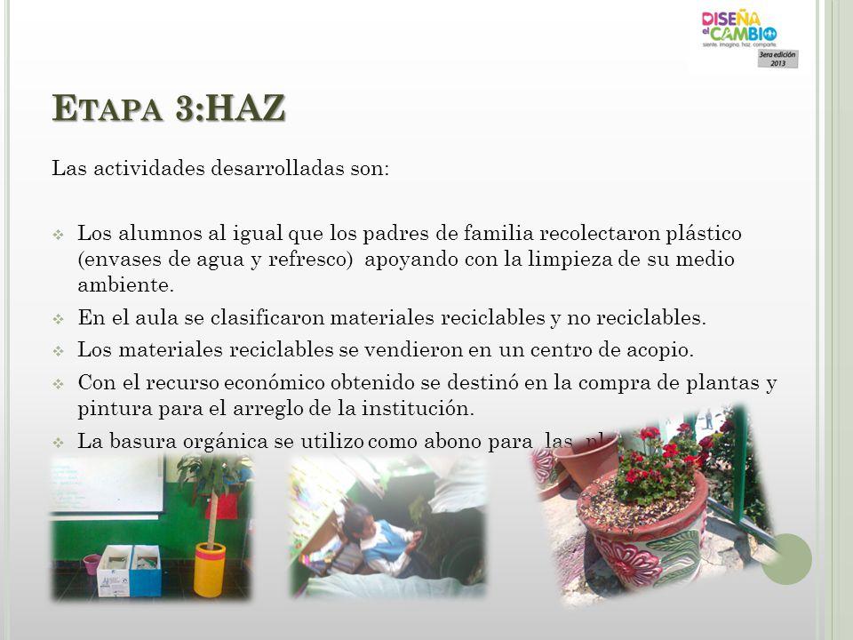 Etapa 3:HAZ Las actividades desarrolladas son: