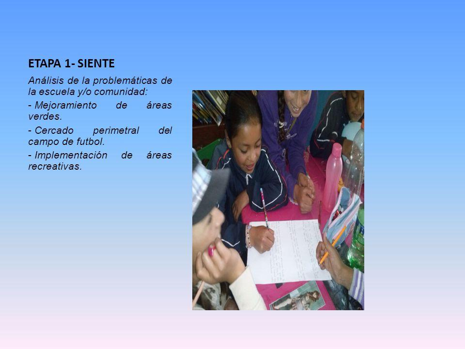 ETAPA 1- SIENTE Análisis de la problemáticas de la escuela y/o comunidad: Mejoramiento de áreas verdes.