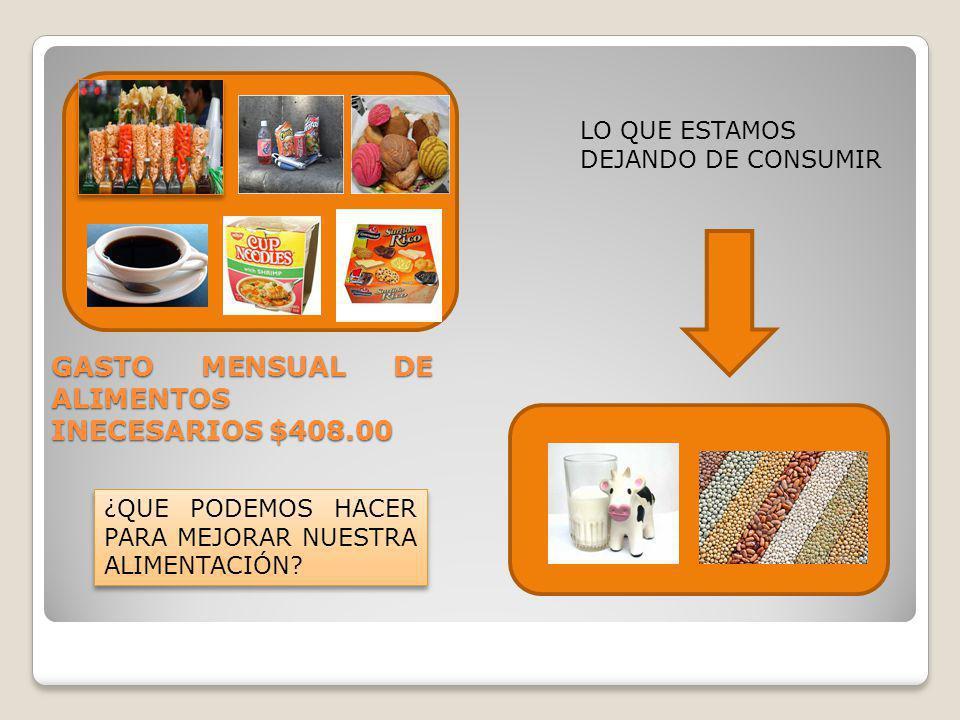 GASTO MENSUAL DE ALIMENTOS INECESARIOS $408.00