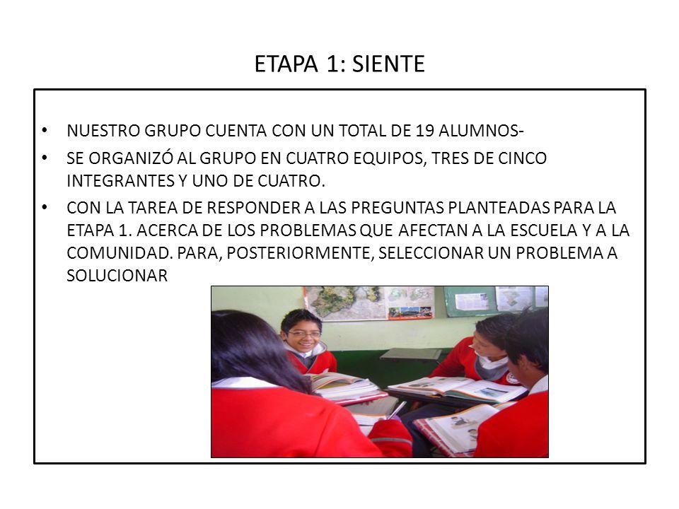 ETAPA 1: SIENTE NUESTRO GRUPO CUENTA CON UN TOTAL DE 19 ALUMNOS-