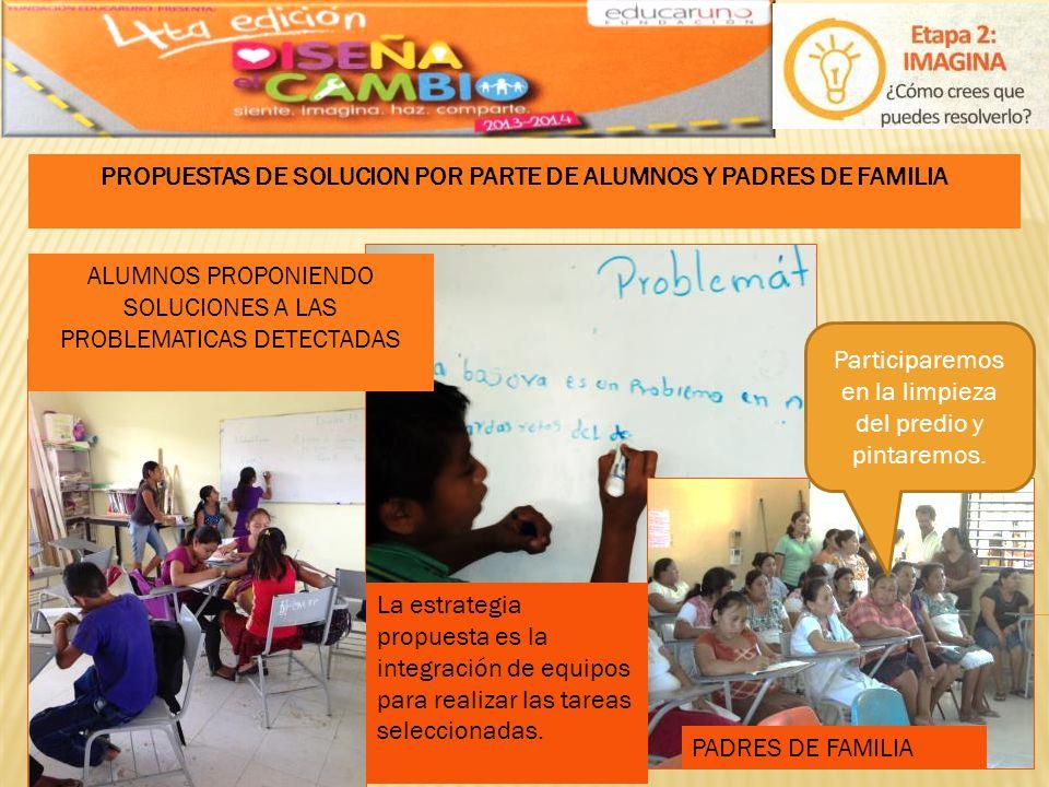 PROPUESTAS DE SOLUCION POR PARTE DE ALUMNOS Y PADRES DE FAMILIA
