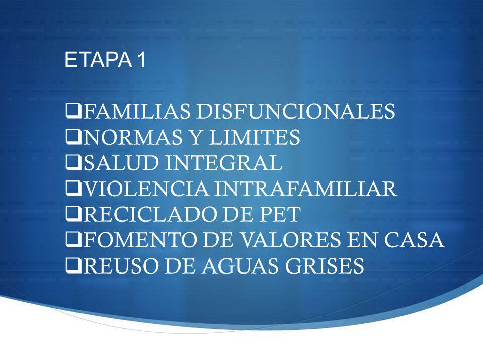 ETAPA 1 FAMILIAS DISFUNCIONALES. NORMAS Y LIMITES. SALUD INTEGRAL. VIOLENCIA INTRAFAMILIAR. RECICLADO DE PET.