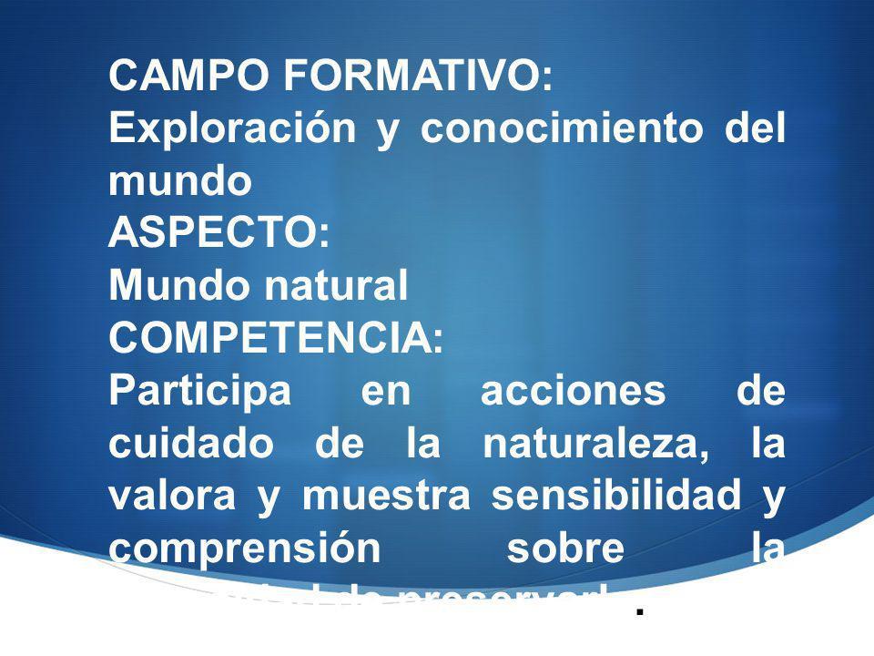 CAMPO FORMATIVO: Exploración y conocimiento del mundo. ASPECTO: Mundo natural. COMPETENCIA: