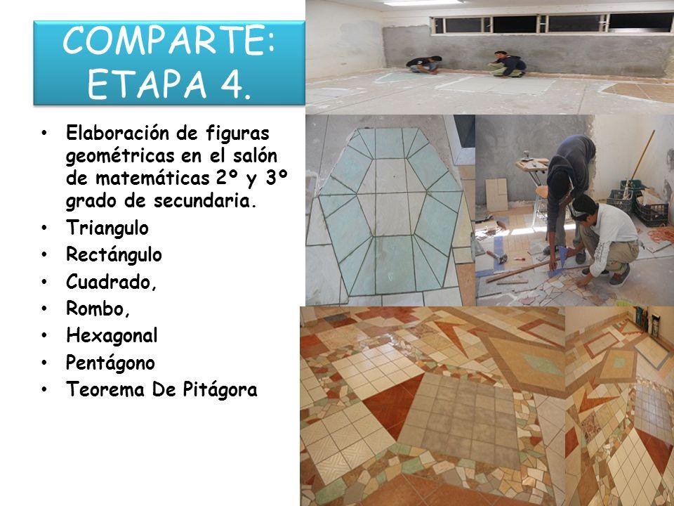 COMPARTE: ETAPA 4. Elaboración de figuras geométricas en el salón de matemáticas 2º y 3º grado de secundaria.