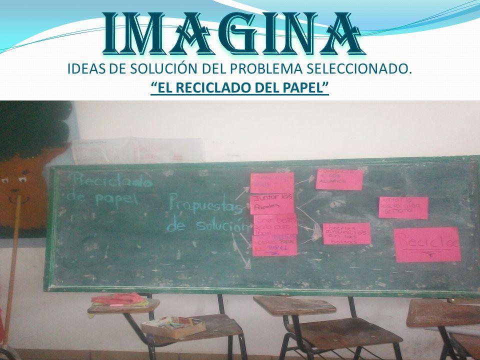 IDEAS DE SOLUCIÓN DEL PROBLEMA SELECCIONADO. EL RECICLADO DEL PAPEL